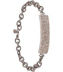 jemma sands 14kt white gold angeles diamond id bar bracelet - grey