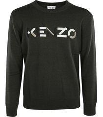 kenzo chest logo ribbed sweater