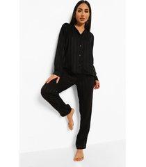 gestreepte satijnen jacquard pyjama, black