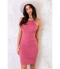 halter jurk dust roze