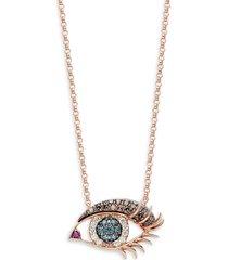 effy women's 14k rose gold white, black & blue diamond & ruby eye pendant necklace