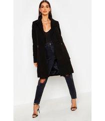 getailleerde jas met ritszakken, zwart