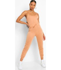 2-in-1 hemd en joggingbroek jumpsuit, karamel