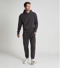 reiss alexander - oversized garment dye hoodie in washed black, mens, size xxl