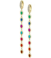 7 color enamel diamond drop earrings