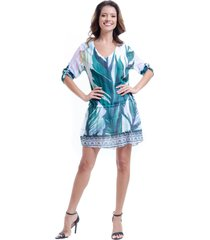 vestido 101 resort wear mangas 3/4 saia evase com babados crepe estampado folhas verde