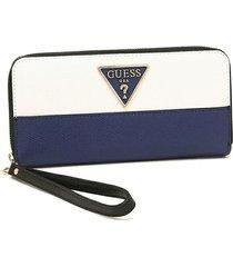 billeteras maddy slg large zip around vl729146 para mujer guess - azul marino