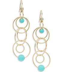 18k yellow gold, matrix turquoise & diamond triple drop earrings
