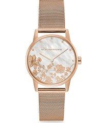 bcbgmaxazria women's classic rose goldtone floral stainless steel mesh bracelet watch