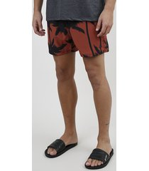 short masculino estampado de coqueiros com cordão e bolsos cobre