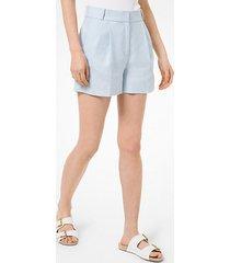 mk shorts in lino lavato con pieghe - pastel blue - michael kors
