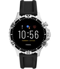 fossil men's gen 5 hr black silicone strap touchscreen smart watch 46mm