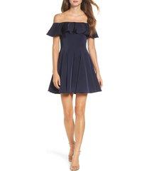 women's la femme ruffle off the shoulder fit & flare dress, size 6 - blue