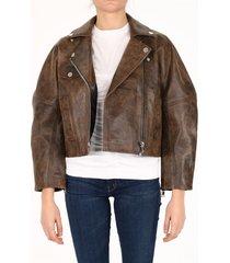 ganni washed leather jacket