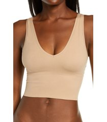 yummie claudia bralette, size large in almond at nordstrom