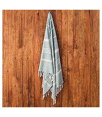 cotton beach towel, 'sweet relaxation in teal' (guatemala)