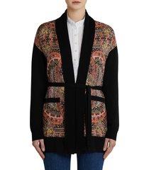 women's etro paisley silk panel wool cardigan, size 14 us - black
