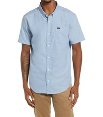 rvca that'll do solid short sleeve button-down shirt, size x-large in oxl-oxford blue at nordstrom