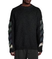 off-white men's diagonal arrows logo sweater - black - size m