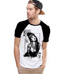 camiseta king33 raglan branco