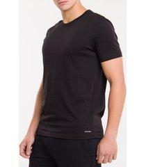 kit2 camiseta gola careca cotton peruano - preto - xl