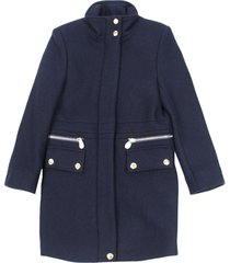 chloé long blue wool coat