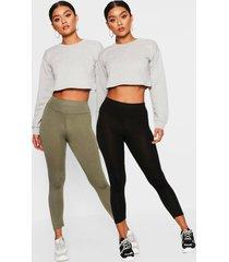 basic driekwarts leggings met hoge taille (2 stuks), kaki