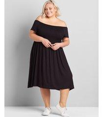 lane bryant women's off-the-shoulder smocked swing dress 22/24 black