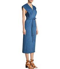 sleeveless chambray wrap midi dress