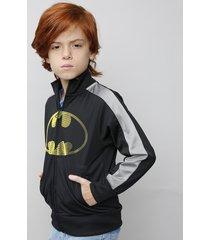 jaqueta infantil batman gola alta com bolsos manga longa preta
