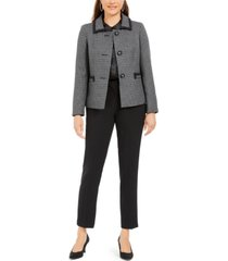 le suit slim-leg contrast-trim pants suit