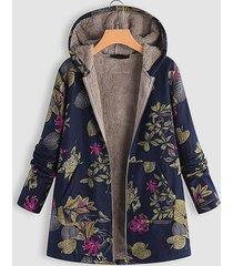 navy random floral print hooded design long sleeves plush lining coat