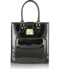 l.a.p.a. designer handbags, black patent leather tote bag