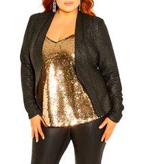 plus size women's city chic shining light jacket, size x-small - black