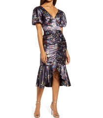 chi chi london amanza floral ruched satin body con dress, size 4 in navy at nordstrom