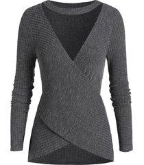plus size choker cut out crossover long sleeve knitwear