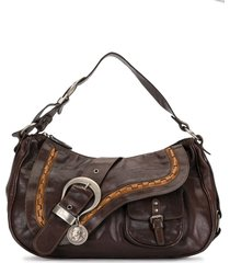 christian dior pre-owned gaucho double saddle shoulder bag - brown