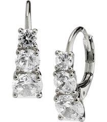 eliot danori cubic zirconia graduating triple-stone statement hoop earrings, created for macy's