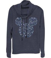 fifth sun juniors disney mickey classic mickey snowflakes fleece cowl neck sweatshirt