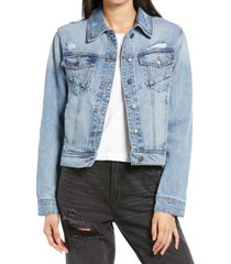 women's hidden jeans fitted denim trucker jacket, size large - blue