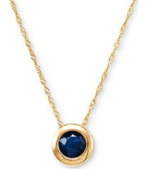 "birthstone 18"" bezel pendant necklace in 14k gold"