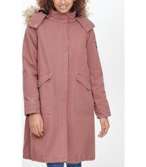 calvin klein jeans faux-fur-trim hooded walker coat