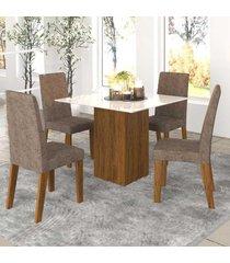 mesa de jantar 4 lugares bolero com vidro branco 11560 seda/malta - mobilarte móveis