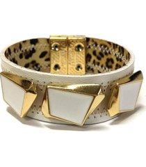 pulseira armazem rr bijoux couro branca e bege  incolor