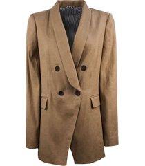 brunello cucinelli camel linen and cotton drill blazer