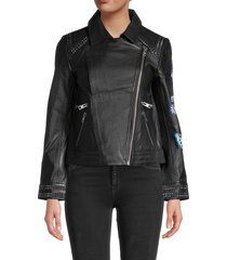 zadig & voltaire women's kawai studded leather jacket - black - size m