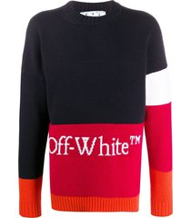 wool logo colorblock sweater