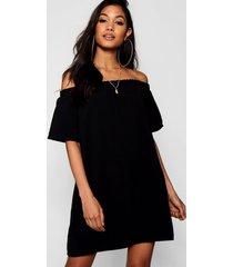 frill off shoulder shift dress, black
