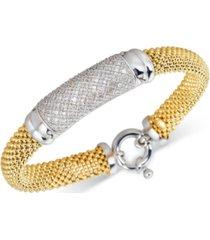 diamond pave dew drop mesh bracelet (3/4 ct. t.w.) in two-tone vermeil