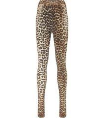ganni meia-calça com estampa de leopardo - preto